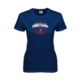 Ladies Navy T Shirt-Pennsylvania Basketball in Ball