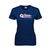 Ladies Navy T Shirt-Penn Softball Script