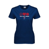 Ladies Navy T Shirt-Peace Love & Volleyball