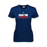Ladies Navy T Shirt-Fear The Quaker
