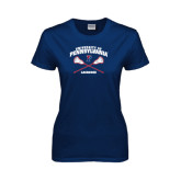 Ladies Navy T Shirt-Lacrosse w/ Crossed Sticks