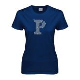 Ladies Navy T Shirt-Split P Rhinestones