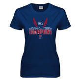 Ladies Navy T Shirt-2016 Mens Ivy League Heptagonal Cross Country Champions
