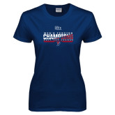 Ladies Navy T Shirt-2017 Ivy League Mens Fencing Champions