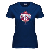 Ladies Navy T Shirt-2017 Ivy League Womens Lacrosse Champions
