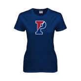 Ladies Navy T Shirt-Split P Distressed