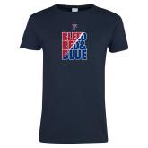 Ladies Navy T Shirt-Bleed Red & Blue