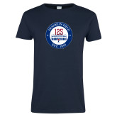 Ladies Navy T Shirt-Franklin Field 125 Logo