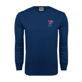 Navy Long Sleeve T Shirt-Split P
