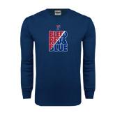 Navy Long Sleeve T Shirt-Bleed Red & Blue