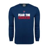 Navy Long Sleeve T Shirt-Fear The Quaker