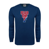 Navy Long Sleeve T Shirt-Fear The P