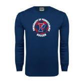 Navy Long Sleeve T Shirt-Soccer Circle
