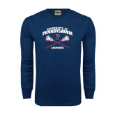 Navy Long Sleeve T Shirt-Lacrosse w/ Crossed Sticks