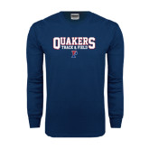 Navy Long Sleeve T Shirt-Quakers Track & Field