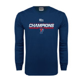 Navy Long Sleeve T Shirt-2016 Ivy League Mens Fencing Champions