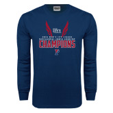 Navy Long Sleeve T Shirt-2016 Mens Ivy League Heptagonal Cross Country Champions