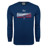 Navy Long Sleeve T Shirt-2017 Ivy League Mens Fencing Champions