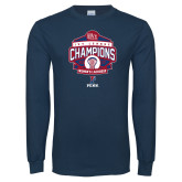 Navy Long Sleeve T Shirt-2017 Ivy League Womens Lacrosse Champions