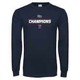 Navy Long Sleeve T Shirt-2017 Womens Cross Country Ivy League Champions