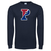 Navy Long Sleeve T Shirt-Split P Distressed