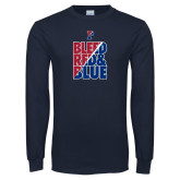 Navy Long Sleeve T Shirt-Bleed Red & Blue