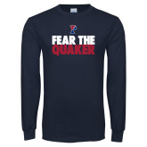 Navy Long Sleeve T Shirt-Fear The Quaker