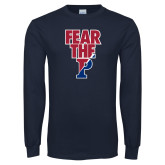 Navy Long Sleeve T Shirt-Fear The P