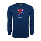 Navy Long Sleeve T Shirt-Split P Distressed