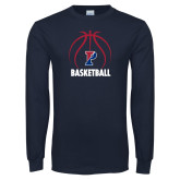 Navy Long Sleeve T Shirt-Penn Basketball Under Ball