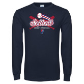 Navy Long Sleeve T Shirt-Penn Softball Crossed Bats