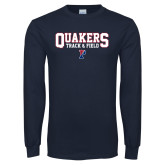 Navy Long Sleeve T Shirt-Quakers Track and Field