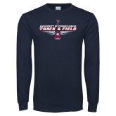 Navy Long Sleeve T Shirt-Track and Field Front Shoe