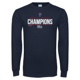Navy Long Sleeve T Shirt-2018 Mens Fencing Ivy League Champions