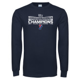 Navy Long Sleeve T Shirt-2018 Womens Track and Field Champions