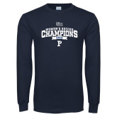 Navy Long Sleeve T Shirt-2018 Womens Soccer Champions