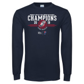 Navy Long Sleeve T Shirt-2019 Womens Track and Field Champions