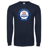 Navy Long Sleeve T Shirt-Franklin Field 125 Logo