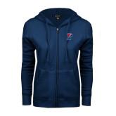 ENZA Ladies Navy Fleece Full Zip Hoodie-Split P