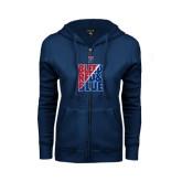 ENZA Ladies Navy Fleece Full Zip Hoodie-Bleed Red & Blue