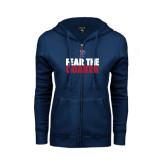 ENZA Ladies Navy Fleece Full Zip Hoodie-Fear The Quaker