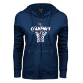 ENZA Ladies Navy Fleece Full Zip Hoodie-2016 Ivy League Womens Basketball Champions