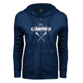 ENZA Ladies Navy Fleece Full Zip Hoodie-2016 Ivy League Womens Lacrosse Champions