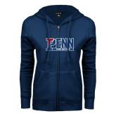 ENZA Ladies Navy Fleece Full Zip Hoodie-Penn Track and Field