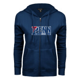 ENZA Ladies Navy Fleece Full Zip Hoodie-Penn Rowing