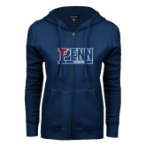 ENZA Ladies Navy Fleece Full Zip Hoodie-Penn Gymnastics