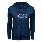 ENZA Ladies Navy Fleece Full Zip Hoodie-Penn Swimming & Diving