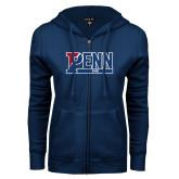 ENZA Ladies Navy Fleece Full Zip Hoodie-Penn Sprint Band