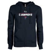 ENZA Ladies Navy Fleece Full Zip Hoodie-2017 Womens Cross Country Ivy League Champions