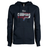ENZA Ladies Navy Fleece Full Zip Hoodie-2017 Mens Cross Country Ivy League Champions